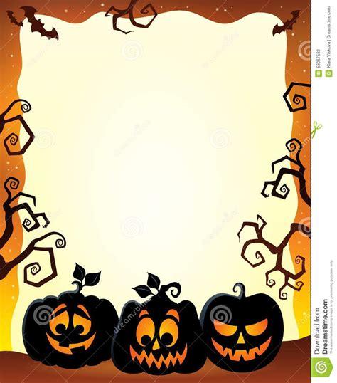 frame  halloween pumpkin silhouettes stock vector