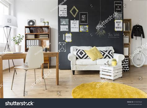 creative living room chalkboard wall wooden stock photo