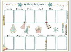 Birthday Calendar printable yearly calendar