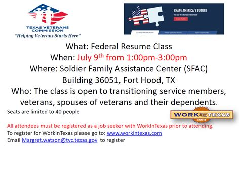 Workintexas Resume by Federal Resume Class Veterans Commission
