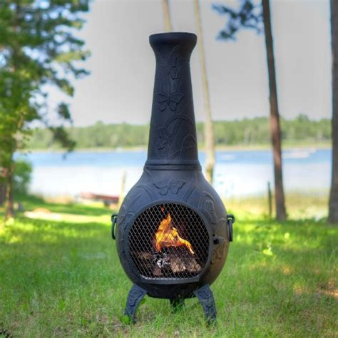 chiminea blue rooster the blue rooster butterfly chiminea in charcoal best prices