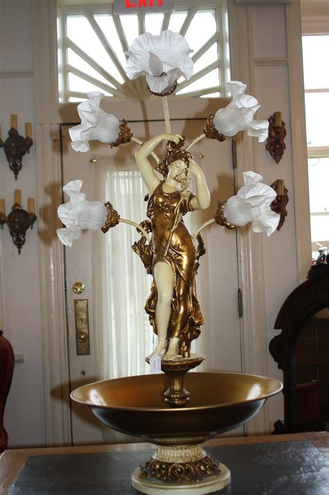 large and ornate spelter figure five light