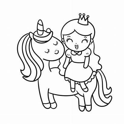 Unicorn Coloring Princess Mewarnai Sketsa Printable Gambar