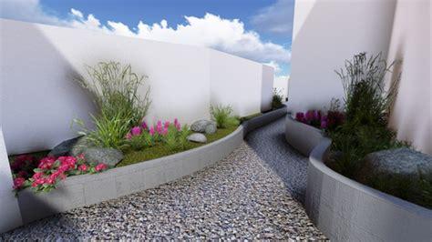 foto diseno de jardinera  camino de acceso al patio