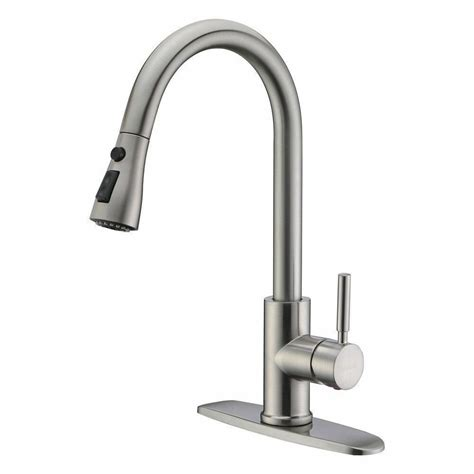 Kitchen Faucet by New Brushed Nickel Pull Out Sprayer Kitchen Faucet