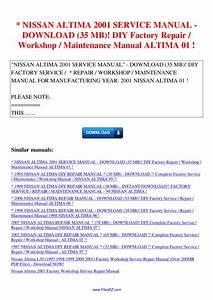 Nissan Altima 2001 Service Manual 35 Mb Diy Factory Repair