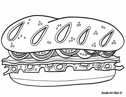 Doodle Coloring Alley Sandwich Picnic Sheets Colouring