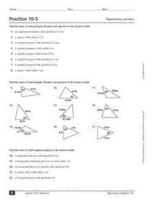 practice 10 5 trigonometry and area worksheet hot