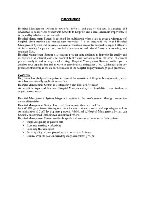 hospital management record system proposal