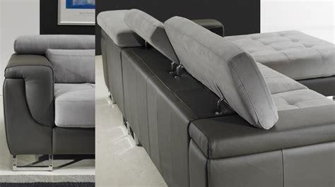 canape convertible haut de gamme canapé d 39 angle droit cuir microfibre gris pas cher