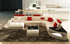 Canape Design Blanc Et Rouge