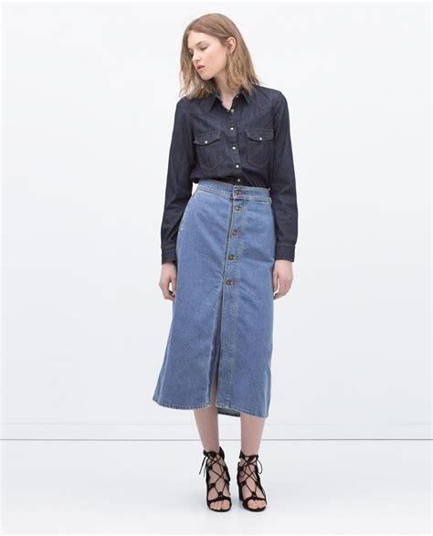 shirt l zara jupe longue en jean comment l 39 assortir et être