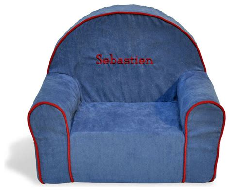 personalized toddler chair blue microsuede modern