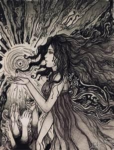 black and white, girl, hair, sun, trippy - inspiring ...