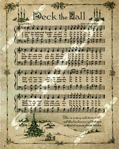 Vintage Christmas Sheet Music Deck the Halls