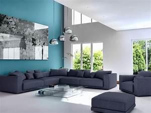 Stunning Decoration Salon Bleu Et Marron Ideas Matkin Info