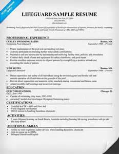 lifeguard resume description lifeguard resume sle http resumecompanion carol sand resume sles