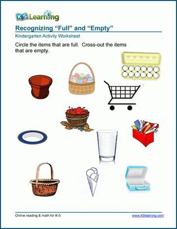 Free Preschool & Kindergarten Full And Empty Worksheets  Printable  K5 Learning