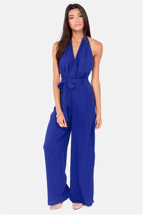 blue jumpsuits blue jumpsuit backless jumpsuit halter jumpsuit