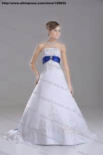 royal blue and white wedding dresses discount silver embroidery white royal blue stain a line wedding dress bridal gown custom size