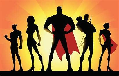Team Superheroes Silhouette Vector Superhero Super Teamwork