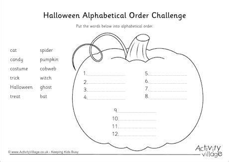 halloween alphabetical order challenge