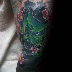 Demon Mask Guys Cherry Blossom Japanese Tattoo On Man ...