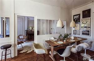 interior decorative florence bouvier39s house in lyon With deco cuisine avec chaise sejour cuir