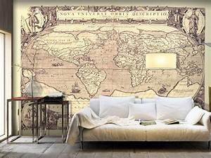 Decoration Murale Carte Du Monde : papier peint carte du monde d coration murale pour des amateurs de voyages pinterest carte ~ Teatrodelosmanantiales.com Idées de Décoration