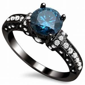1.35ct Blue Round Diamond Engagement Ring 14k Black Gold ...