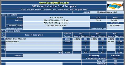 gst refund voucher excel template refunding advance