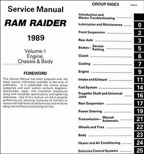 1989 Dodge Ram Raider Repair Shop Manual Original 2 Volume Set