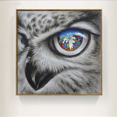 Cool Owl Canvas Painting Wall Art Abstract Modern Bird