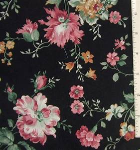 Fabric Cotton Black Pink Rose Floral Print Lightweight 44 ...