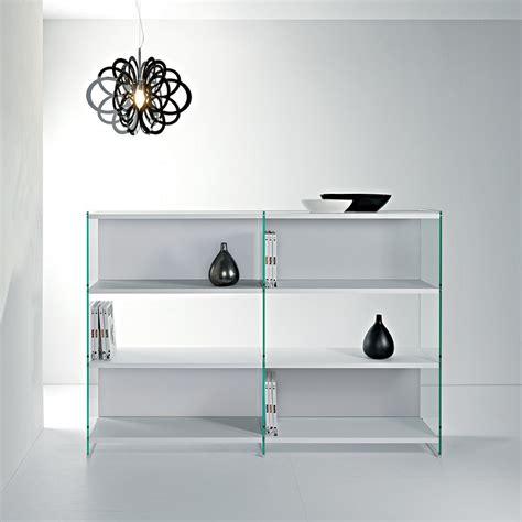 Librerie In Vetro - libreria a giorno design in vetro e legno 180 x 125 cm