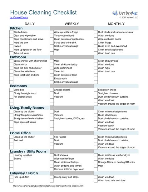 house cleaning checklist template excel