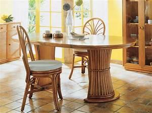 Table avec pied central a rallonge brin d39ouest for Meuble salle À manger avec chaise osier