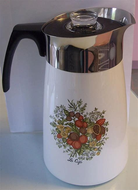 Vintage pyrex flameware glass coffee pot percolator complete. Corning Ware Spice of Life 10 Cup Stove top Coffee Pot ...