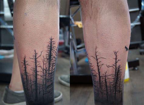 Calf Sleeve Dead Forest And Birds Tattoo
