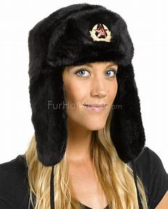 The Sochi Black Faux Fur Ladies Russian Hat With Badge