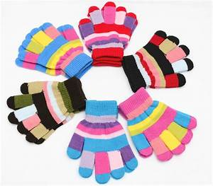2016 Winter Warm Kids Gloves Fitness Striped Knitted ...