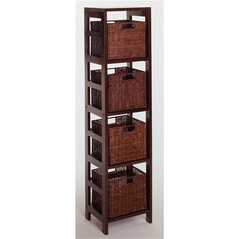 Black Bookcase With Baskets by Winsome 174 Leo 4 Section Storage Shelf With 4