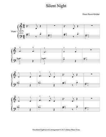 There are five sheet music. Silent Night   Very easy piano sheet music   Christmas song