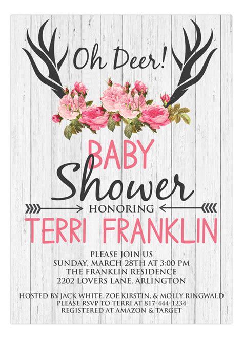 deer baby shower invitations cute gender reveal ideas