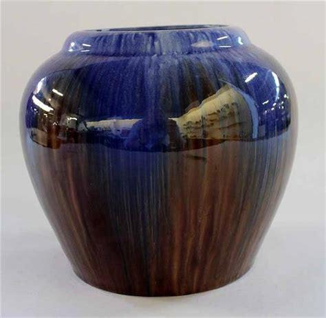 australian pottery drip glaze vase blue glaze marked