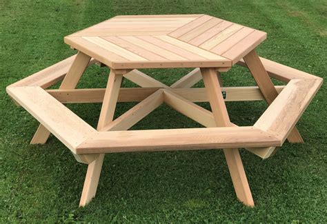 Sixperson Hexagonal Cedar Picnic Table W Parquetstyle Top