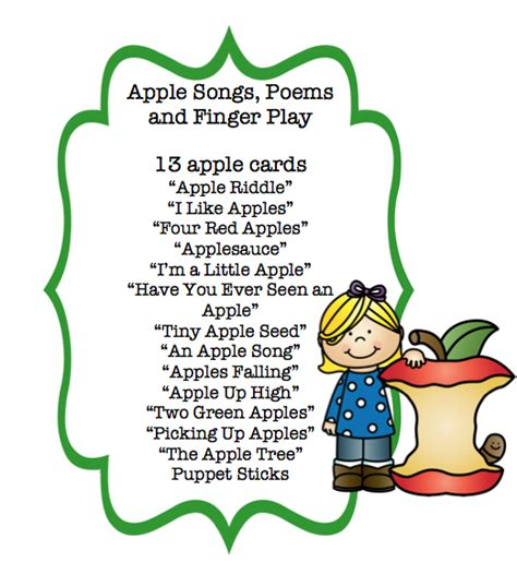 apple songs poems and finger play cards preschool 893 | 11