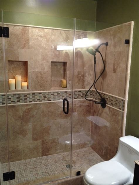 travertine shower  traditional bathroom los angeles