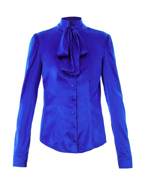 the blouse l 39 wren pussybow silk blouse in blue lyst