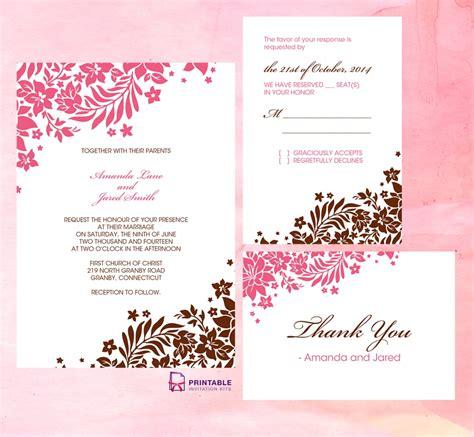 pink  brown foliage wedding invitation  printable